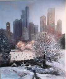 Bea Snyder, Winter in Central Park, Oil on linen, 20 x 24
